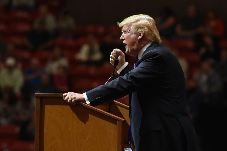 Republican presidential candidate Donald Trump speaks at a rally at the South Point Hotel & Casino on Feb. 22, 2016 in Las Vegas, Nev. (Photo by Ethan Miller/Getty)