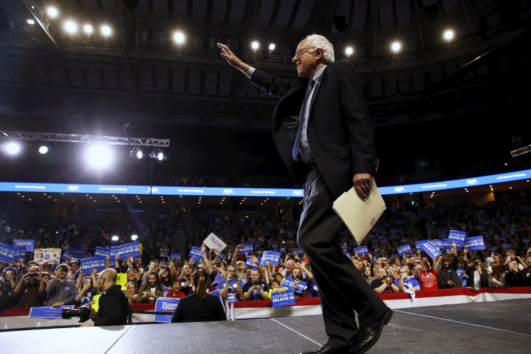 Democratic presidential candidate Bernie Sanders takes the stage to deliver remarks to supporters at an arena in Greenville, S.C., Feb. 21, 2016. (Photo by Jonathan Ernst/Reuters)