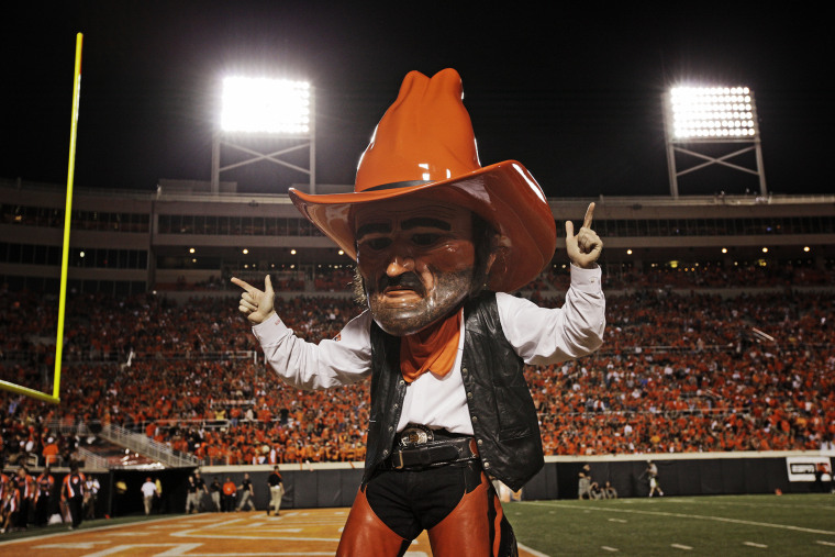 Oklahoma State Cowboys mascot Pistol Pete performs during a game against the Arizona Wildcats on Sept. 8, 2011 at Boone Pickens Stadium in Stillwater, Okla. (Photo by Brett Deering/Getty)