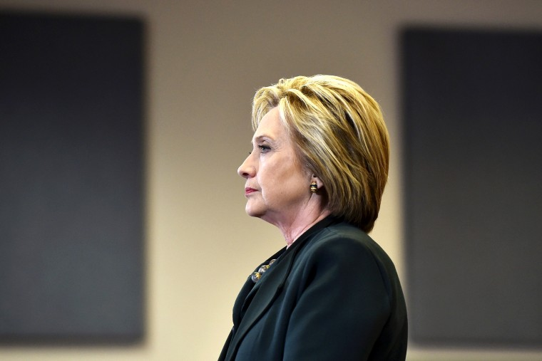 U.S. Democratic presidential candidate Hillary Clinton speaks with students at Del Sol High School in Las Vegas, Nev., on Feb. 19, 2016. (Photo by David Becker/Reuters)