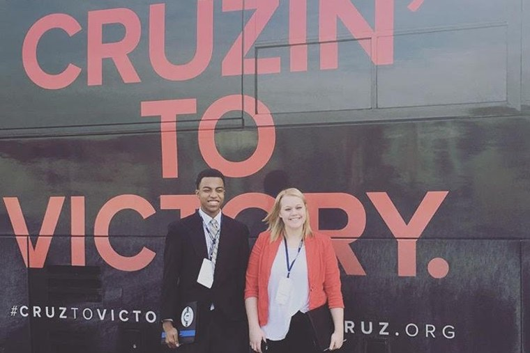 "Chase the Race"" reporters Mikayla Kelz and Charles Graham outside a Ted Cruz campaign bus in Iowa. (Courtesy of Mikayla Kelz)"