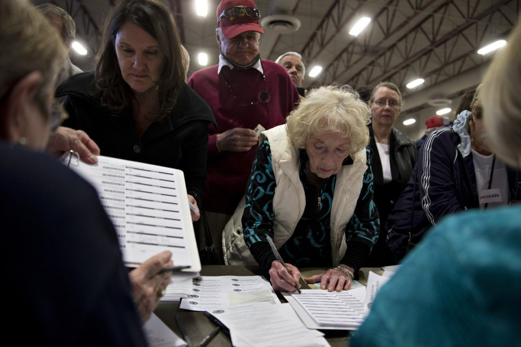 Caucusgoers check-in to receive a ballot at the Cimarron-Memorial High School caucus location during the Nevada Republican presidential caucus in Las Vegas, Nev., on Feb. 23, 2016. (Photo by Andrew Harrer/Bloomberg/Getty)