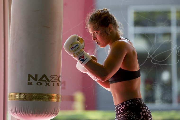 Mixed martial arts fighter Ronda Rousey works out at Glendale Fighting Club, July 15, 2015, in Glendale, Calif. (Photo by Jae C. Hong/AP)