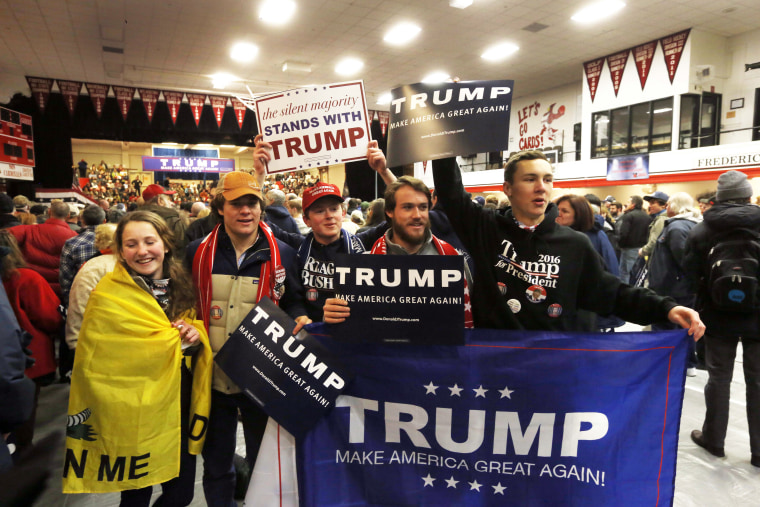 Supporters of Republican presidential candidate Donald Trump cheer as Trump gets ready to speak to a crowd Tuesday, Jan. 5, 2016, in Claremont, N.H. (AP...