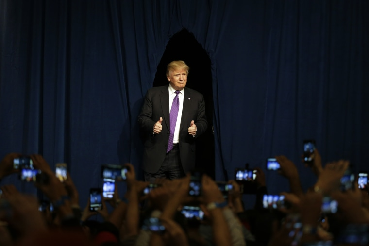 Republican presidential candidate Donald Trump arrives for a caucus night rally, Feb. 23, 2016, in Las Vegas. (Photo by Jae C. Hong/AP)