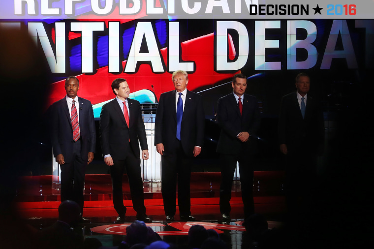 Republican presidential candidates stand on stage for the Republican Presidential Primary Debate on Feb. 25, 2016 in Houston, Texas. (Photo by Joe Raedle/Getty)