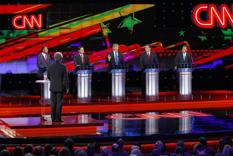 Republican presidential candidates participate during the Republican Presidential Primary Debate on Feb. 25, 2016 in Houston, Texas. (Photo by Mike Stone/Reuters)