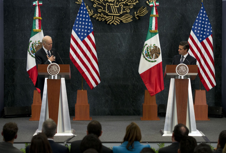 Vice President Joe Biden tells Mexican President Enrique Pena Nieto that U.S. campaign rhetoric about Mexico and immigrants does not represent the view of most Americans, in Mexico City, Feb. 25, 2016. (Photo by Rebecca Blackwell/AP)