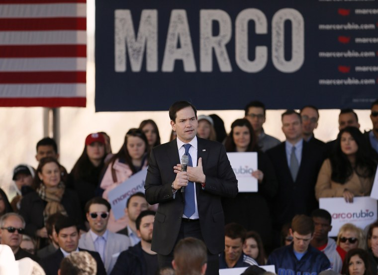 Republican presidential candidate, Sen. Marco Rubio, R-Fla. speaks during a rally, Feb. 26, 2016, in Dallas, Texas. (Photo by Brandon Wade/AP)