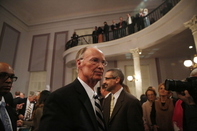 Alabama Gov. Robert Bentley walks towards the door after speaking during the annual State of the State address at the Capitol, Feb. 2, 2016, in Montgomery, Ala. (Photo by Brynn Anderson/AP)