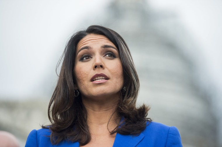 Rep. Tulsi Gabbard, D-Hawaii, speaks during a news conference on the Trans-Pacific Partnership outside of the U.S. Capitol, Nov. 18, 2015. (Photo By Bill Clark/CQ Roll Call/Getty)