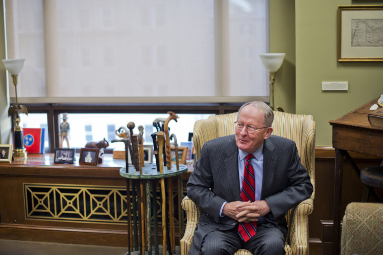 Sen. Lamar Alexander, R-Tenn., is interviewed by CQ Roll Call in his Dirksen Building office, Feb. 2, 2015. (Photo By Tom Williams/CQ Roll Call/Getty)