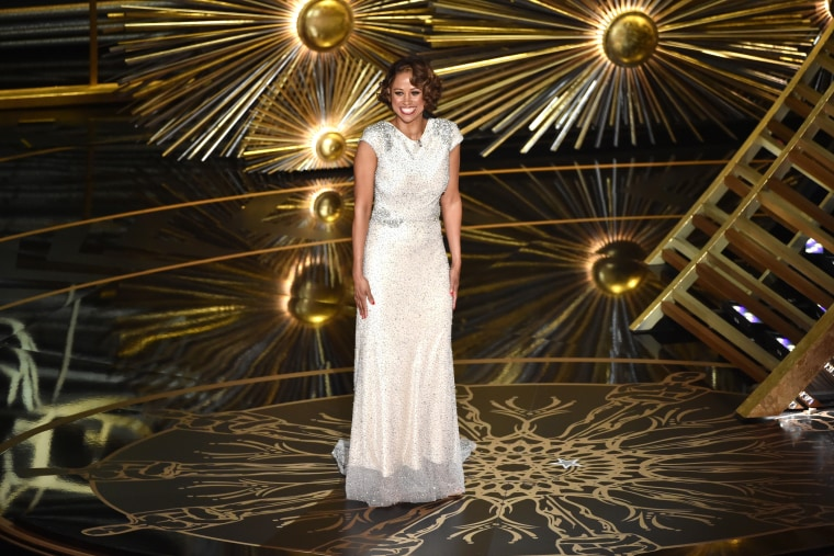 Actress Stacey Dash speaks onstage during the 88th Annual Academy Awards at the Dolby Theatre on Feb. 28, 2016 in Hollywood, Calif. (Photo by Kevin Winter/Getty)
