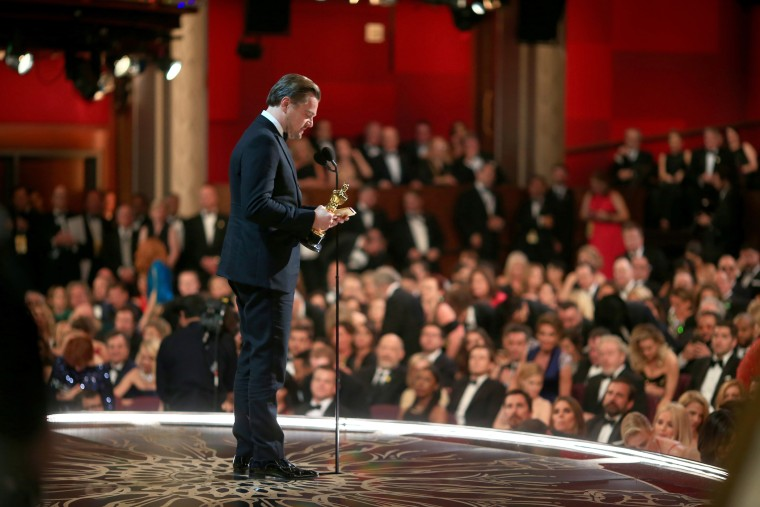 Actor Leonardo DiCaprio, winner of Best Actor for 'The Revenant,' speaks onstage the 88th Annual Academy Awards at Dolby Theatre on Feb. 28, 2016 in Hollywood, Calif. (Photo by Christopher Polk/Getty)