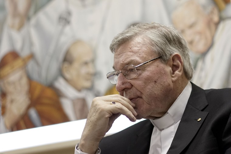 In this Tuesday, March 31, 2015 filer, Cardinal George Pell attends a press conference at the Vatican Radio headquarters, in Rome. (Photo by Andrew Medichini/AP)