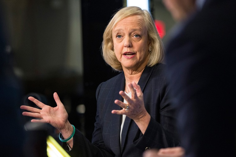 Meg Whitman, CEO of Hewlett Packard, gives a television interview on the floor of the New York Stock Exchange after ringing the opening bell on Nov. 2, 2015 in New York, N.Y. (Photo by Andrew Burton/Getty)