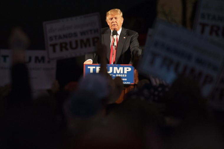 Republican presidential candidate Donald Trump addresses a rally at Millington Regional Jetport on Feb. 27, 2016 in Millington, Tenn. (Photo by Michael B. Thomas/AFP/Getty)