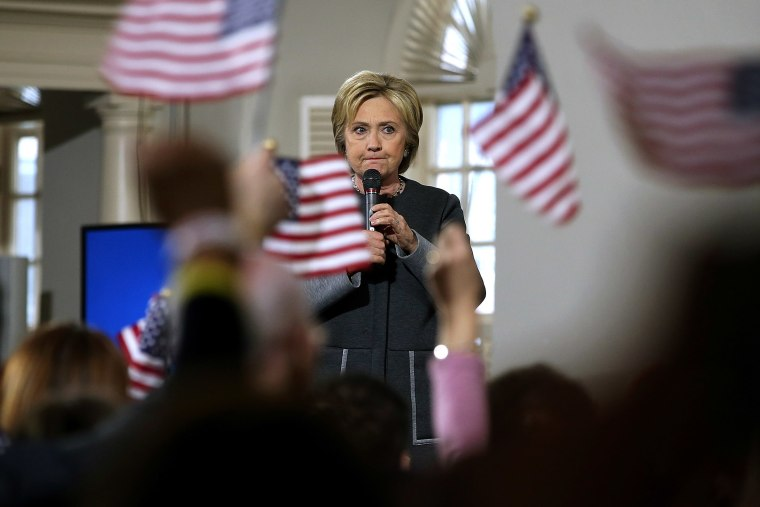 """Former Secretary of State Hillary Clinton speaks during a """"Get Out The Vote"""" event at the Old South Meeting Hall on Feb. 29, 2016 in Boston, Mass. (Photo by Justin Sullivan/Getty)"""