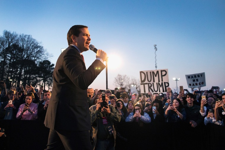 Republican presidential candidate Sen. Marco Rubio (R-FL) speaks at a campaign rally at the Space and Rocket Center on Feb. 27, 2016 in Huntsville, Ala. (Photo by Scott Olson/Getty)