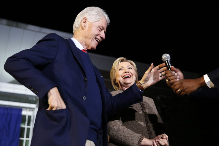 "Democratic presidential candidate Hillary Clinton and her husband, former President Bill Clinton, speak at a ""Get Out The Vote Rally"" in Columbia, S.C., Feb. 26, 2016. (Photo by Gerald Herbert/AP)"