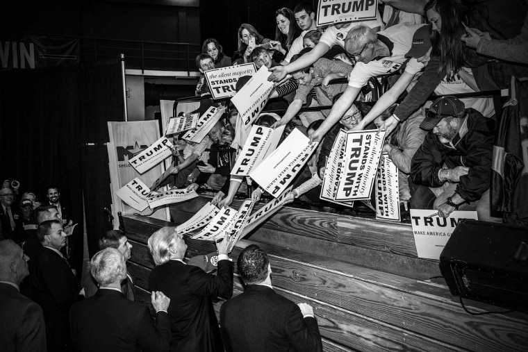 Republican presidential candidate Donald Trump greets supporters during a rally in Radford, Va., on Feb. 29, 2016. (Photo by Mark Peterson/Redux for MSNBC)