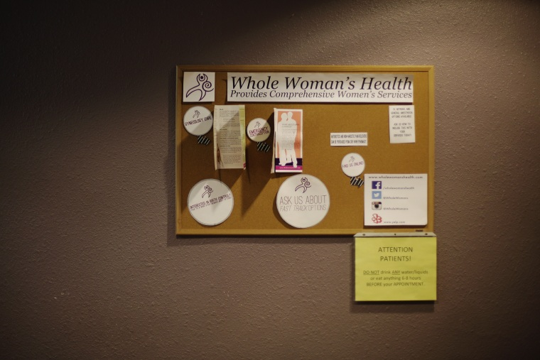 A cork board in the waiting room at Whole Woman's Health of San Antonio, Feb. 9, 2016, in San Antonio, Texas. (Photo by Eric Gay/AP)