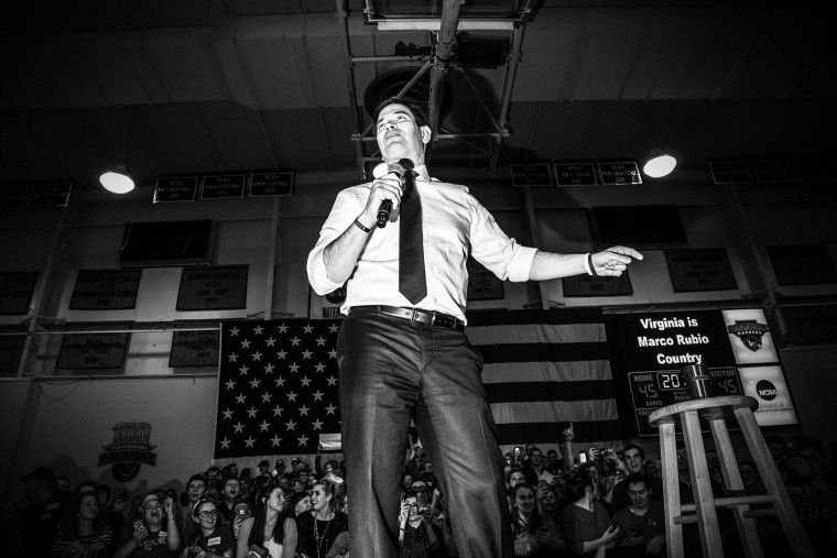 Sen. Marco Rubio holds a rally in Salem, Va., Feb. 28, 2016. (Photo by Mark Peterson/Redux for MSNBC)