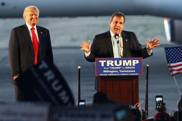 Former Republican presidential candidate Governor Chris Christie expresses his support for current candidate Donald Trump at an airport rally in Millington, Tenn., Feb. 27, 2016. (Photo by Karen Pulfer Focht/Reuters)