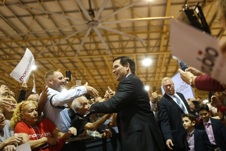 Republican 2016 US presidential candidate Sena. Marco Rubio arrives at his Super Tuesday primary election night rally at Tropical Park in Miami, Fla. on March 1, 2016. (Photo by Brian Blanco/EPA)