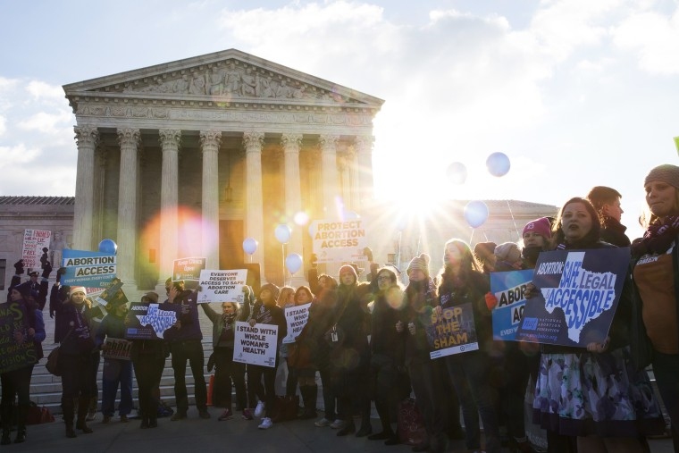 Pro-choice advocates rally outside of the Supreme Court on March 2, 2016 in Washington, DC. (Photo by Drew Angerer/Getty)