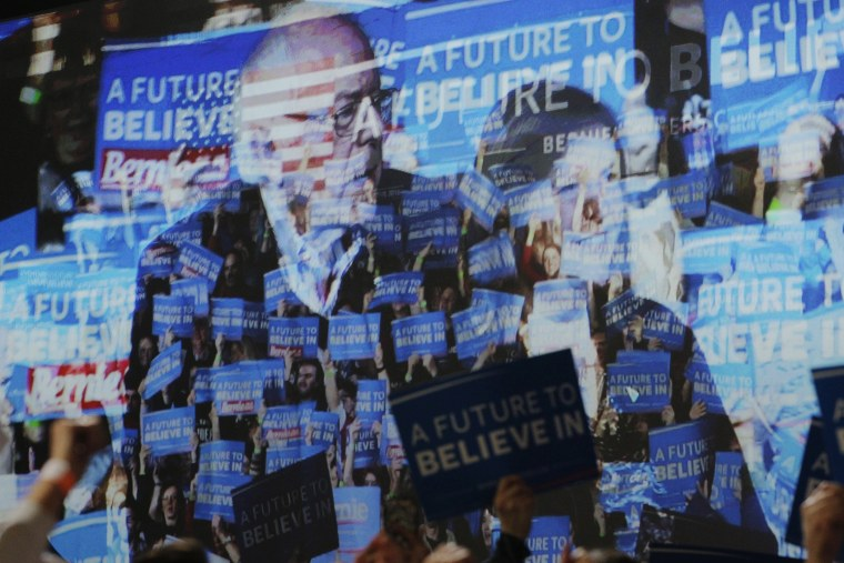 The video screen shows Democratic presidential candidate and Senator Bernie Sanders, his wife Jane and their supporters at his Super Tuesday rally in Burlington, Vt., March 1, 2016. (Photo by Brian Snyder/Reuters)