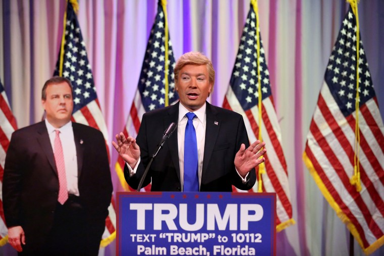 Tonight Show Host Jimmy Fallon performs an impression of Donald Trump on March 2, 2016. (Photo by Andrew Lipovsky/NBC/NBCU Photo Bank/Getty)