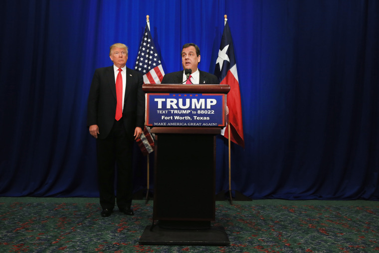 New Jersey Governor Chris Christie announces his support for Republican presidential candidate Donald Trump during a campaign rally at the Fort Worth Convention Center, Feb. 26, 2016 in Fort Worth, Texas. (Photo by Tom Pennington/Getty)