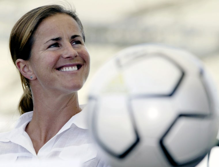 In this May 13, 2004 file photo, San Jose CyberRays soccer star Brandi Chastain is shown during a news conference in Carson, Calif. (Photo by Nick Ut/AP)