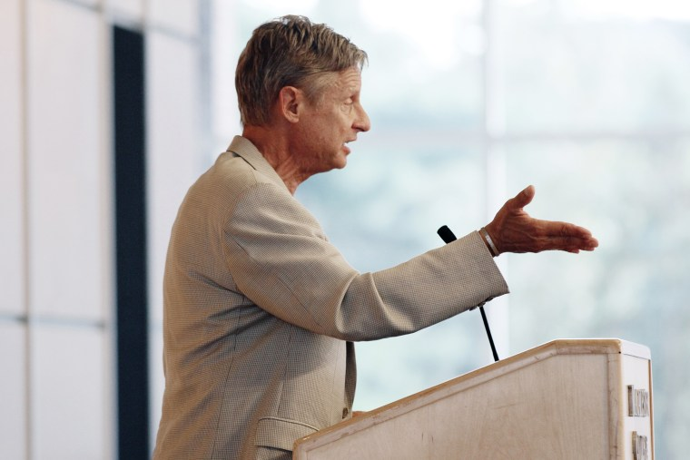 Gary Johnson, the Libertarian Party candidate for president, addresses an audience of students and the public at Macalester College, Sept. 21, 2012 in St. Paul, Minn. (Photo by Jim Mone/AP)