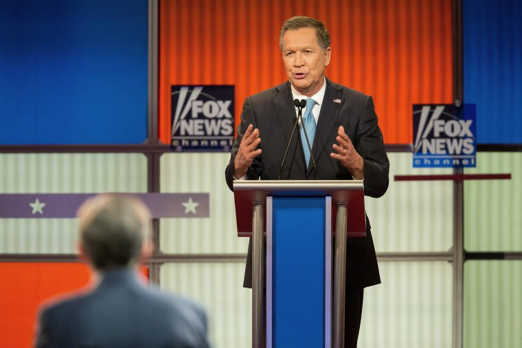 Republican Presidential candidate John Kasich speaks during the Republican Presidential Debate in Detroit, Mich., March 3, 2016. (Photo by Geoff Robins/AFP/Getty)