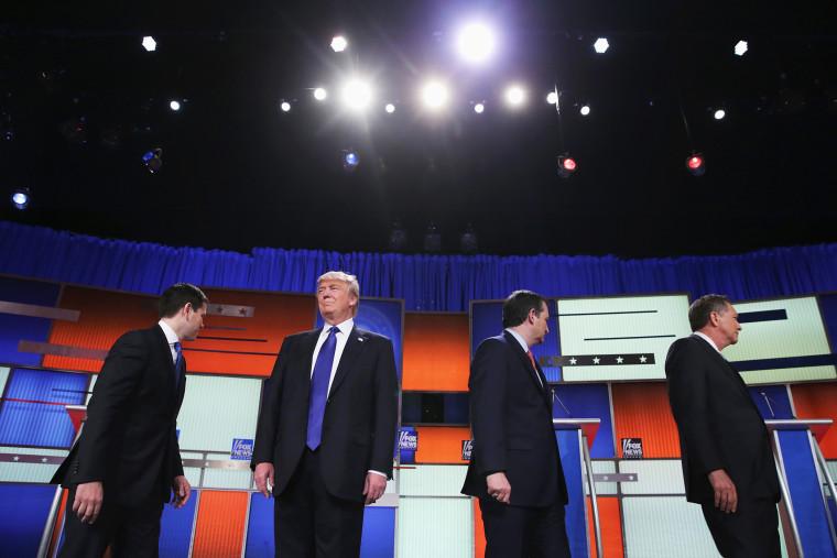 Republican presidential candidates (Lto R) Sen. Marco Rubio (R-FL), Donald Trump, Sen. Ted Cruz (R-TX), and Ohio Gov. John Kasich, participate in a debate sponsored by Fox News on March 3, 2016 in Detroit, Mich. (Photo by Chip Somodevilla/Getty)