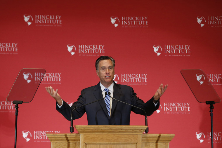 Mitt Romney gives a speech on the state of the Republican party at the Hinckley Institute of Politics on the campus of the University of Utah on March 3, 2016 in Salt Lake City, Utah. (Photo by George Frey/Getty)