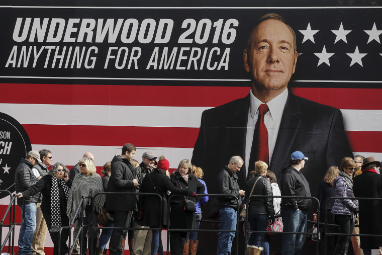 "People line up outside a ""House of Cards"" guerrilla marketing campaign in Greenville, S.C., Feb. 12, 2016. Actor Kevin Spacey plays the role of Frank Underwood in the Netflix series. (Photo by Carlo Allegri/Reuters)"