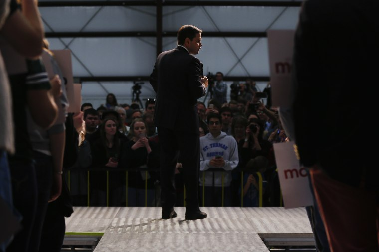 Republican presidential candidate, Sen. Marco Rubio, R-Fla., speaks at a campaign rally in Wichita, Kan., March 4, 2016. (Photo by Paul Sancya/AP)