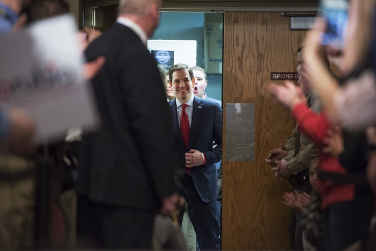 Republican presidential candidate Marco Rubio enters the hall before speaking during a campaign appearance in Andover, Minn. on March 1, 2016. (Photo by Craig Lassig/EPA)