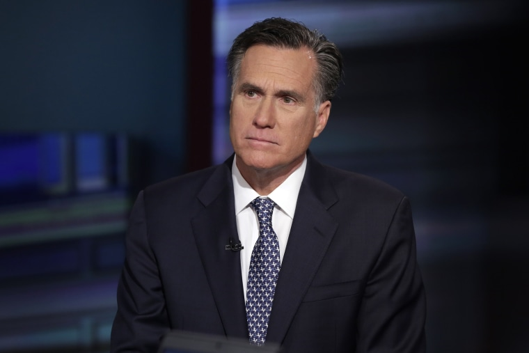 "Mitt Romney is interviewed by Neil Cavuto during his ""Cavuto Coast to Coast"" program on the Fox Business Network, in New York, March 4, 2016. (Photo by Richard Drew/AP)"