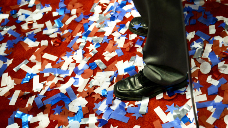 Confetti on the floor on the last day of the 2012 Republican National Convention.