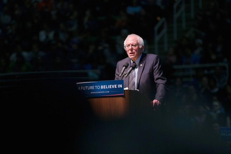 Democratic presidential candidate Senator Bernie Sanders (D-VT) speaks to guests during a rally on the campus of Michigan State University on March 2, 2016 in East Lansing, Mich. (Photo by Scott Olson/Getty)