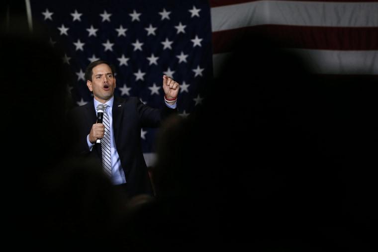 Republican presidential candidate, Sen. Marco Rubio, R-Fla., speaks at a campaign rally in Boise, Idaho, March 6, 2016. (Photo by Paul Sancya/AP)