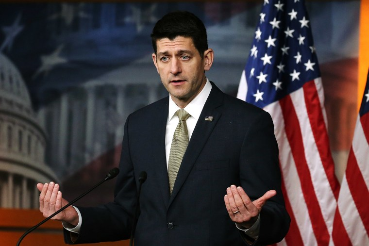 House Speaker Paul Ryan speaks to the media during his weekly briefing at the U.S. Capitol, March 3, 2016 in Washington, DC. (Photo by Mark Wilson/Getty)