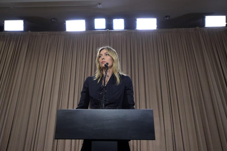 Tennis player Maria Sharapova addresses the media regarding a failed drug test at the Australian Open at The LA Hotel Downtown on March 7, 2016 in Los Angeles, Calif. (Photo by Kevork Djansezian/Getty)