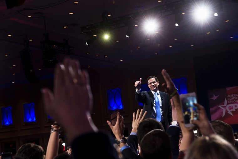 Republican Presidential hopeful Marco Rubio gives a thumbs up after speaking during the American Conservative Union Conservative Political Action Conference 2016 on March 5, 2016, in Oxon Hill, Md. (Photo by Brendan Smialowski/AFP/Getty)