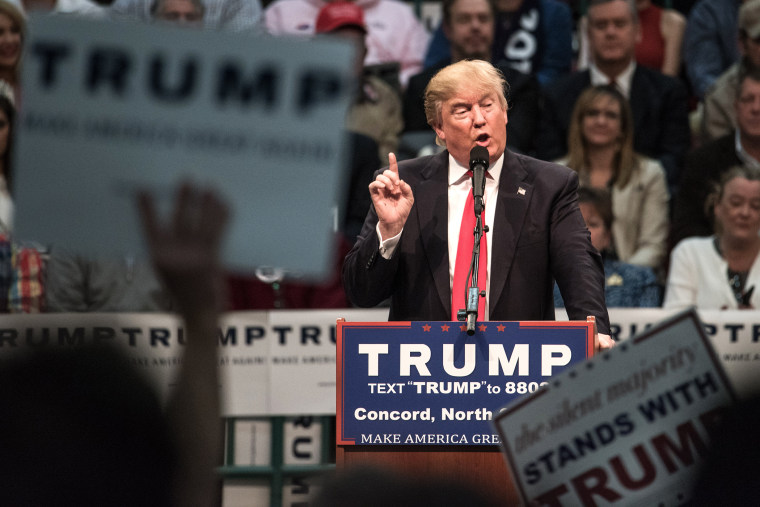 Republican presidential candidate Donald Trump addresses the crowd at a campaign rally March 7, 2016 in Concord, N.C. (Photo by Sean Rayford/Getty)