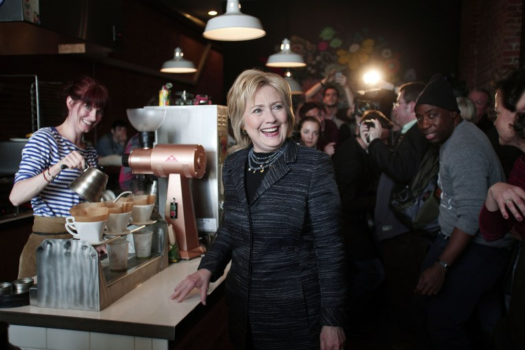 Democratic presidential candidate Hillary Clinton makes a campaign stop at Astro Coffee on the day of the Michigan Primary March 8, 2016 in Detroit, Mich. (Photo by Bill Pugliano/Getty)